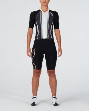 2XU Project X korte mouw trisuit zwart/wit dames