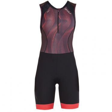 2XU Compression mouwloos trisuit zwart/rood dames