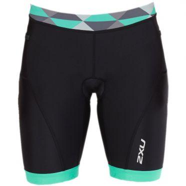 "2XU Active 7"" tri shorts zwart/groen dames"
