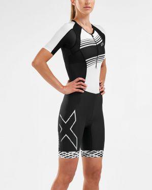 2XU Compression korte mouw trisuit zwart/wit dames WT5521D