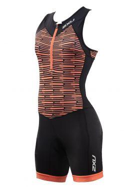 2XU Active mouwloos trisuit zwart/oranje dames