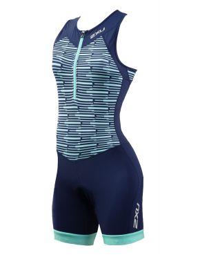 2XU Active mouwloos trisuit blauw dames