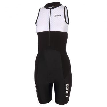 Zone3 Lava long distance mouwloos trisuit zwart/wit dames
