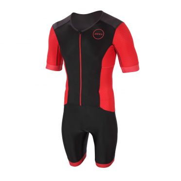 Zone3 Aquaflo plus korte mouw trisuit zwart/rood heren