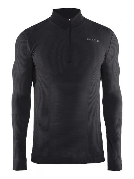 Craft Warm Wool Comfort Rits Lange Mouw Ondershirt Zwart