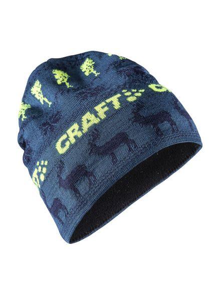 Craft Retro knit muts blauw/geel  1906511-677391