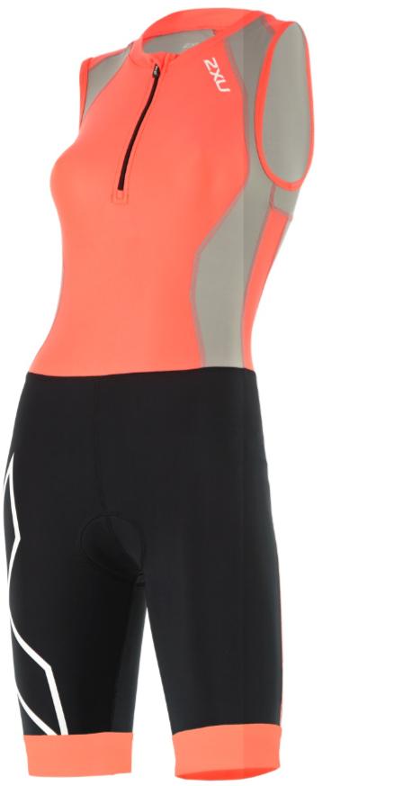 2XU Compression trisuit front zip oranje/zwart dames  WT4446dFCL/FRG-VRR