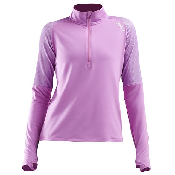 2XU GHST 1/2 Zip hardloopshirt lange mouw roze dames  WR6207a-ULTWHT