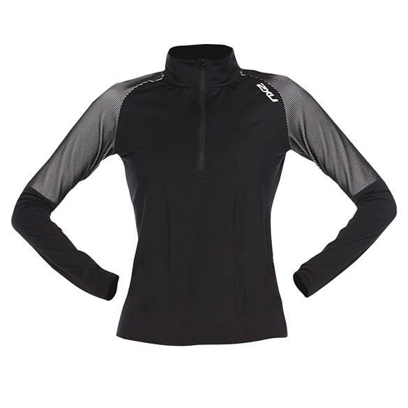 2XU GHST 1/2 Zip hardloopshirt lange mouw zwart/wit dames  WR6207a-BLKWHT