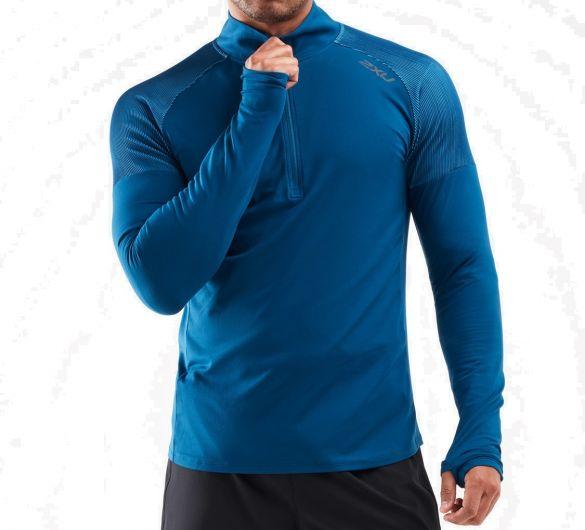 2XU GHST 1/2 Zip hardloopshirt lange mouw blauw heren  MR6206a-POSUAQ