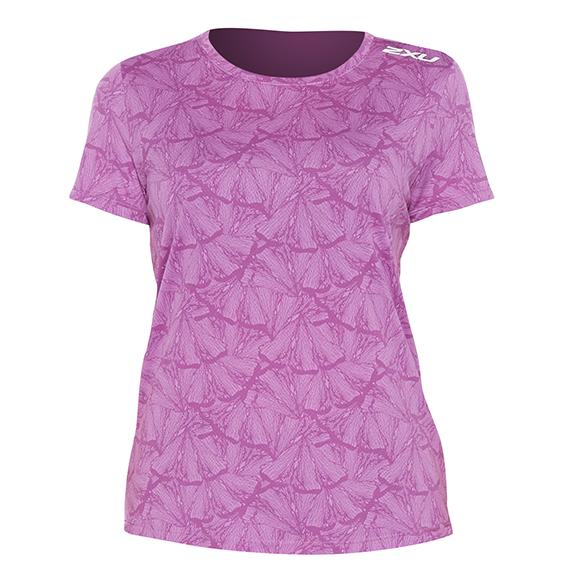2XU GHST hardloopshirt korte mouw roze dames  WR6212a-BEUWRF