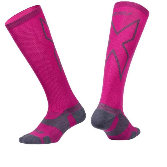 2XU Vectr merino LC Full Lenght compressie hoge sokken roze  UA5155e-HPKGRY
