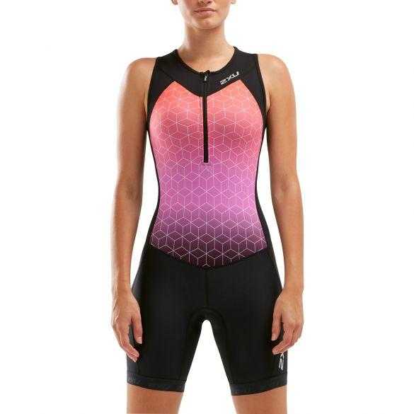 2XU Active mouwloos trisuit zwart/roze dames  WT5546D-BLK/STO
