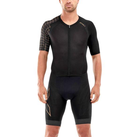 2XU Compression korte mouw trisuit zwart/goud heren  MT5516D-BLK/GLD