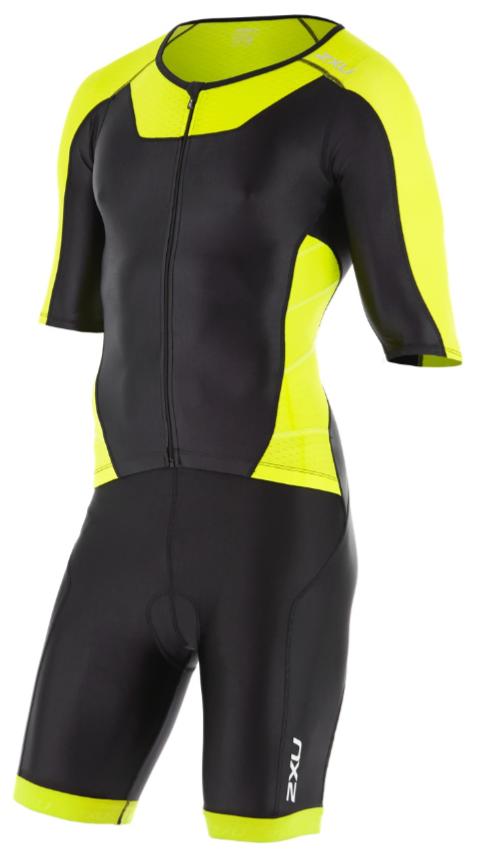 2XU X-vent Sleeved Full Front Zip Trisuit zwart/geel heren  MT4355dBLK/LPU