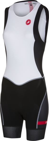 Castelli Short distance W race trisuit rits achterzijde mouwloos wit/zwart dames  18120-101s