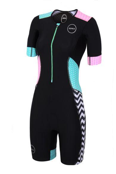 Zone3 Activate plus korte mouw trisuit Zebra fly dames  TS18WACPS101