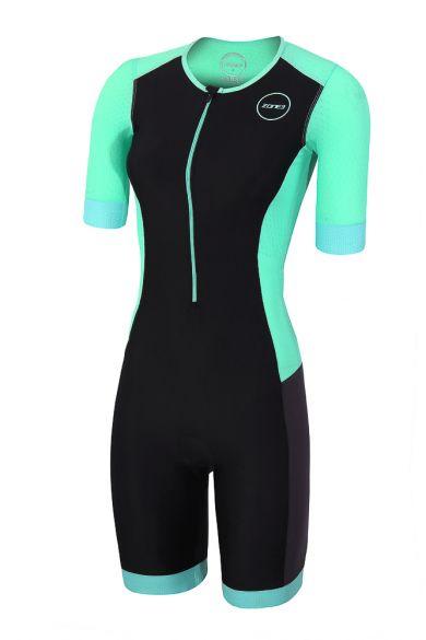 Zone3 Aquaflo plus korte mouw trisuit zwart/mint dames  TS18WAQPS109