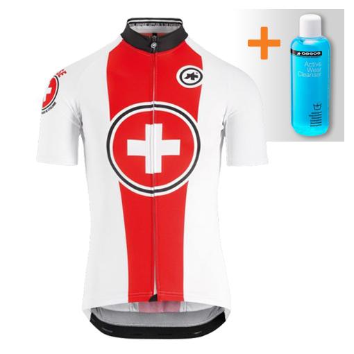 Assos Suisse Fed SS korte mouw fietsshirt wit/rood heren  132028299