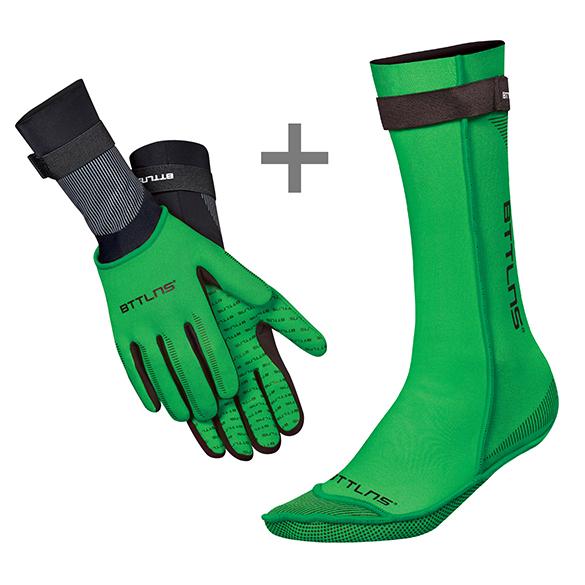 BTTLNS Neopreen zwemsokken en zwemhandschoenen voordeelset groen  0120011+0120012-040