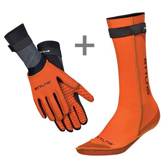 BTTLNS Neopreen zwemsokken en zwemhandschoenen voordeelset oranje  0120011+0120012-034