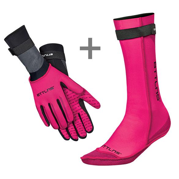 BTTLNS Neopreen zwemsokken en zwemhandschoenen voordeelset roze  0120011+0120012-072