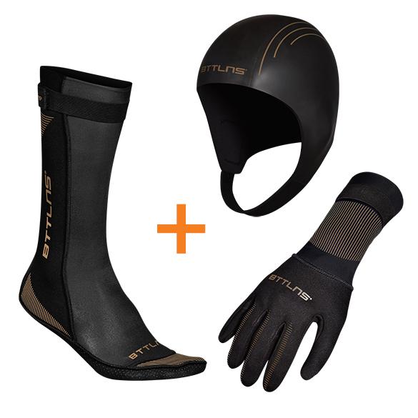 BTTLNS Neopreen accessoires voordeelset zwart/goud  0121009+0121010+0121011-087