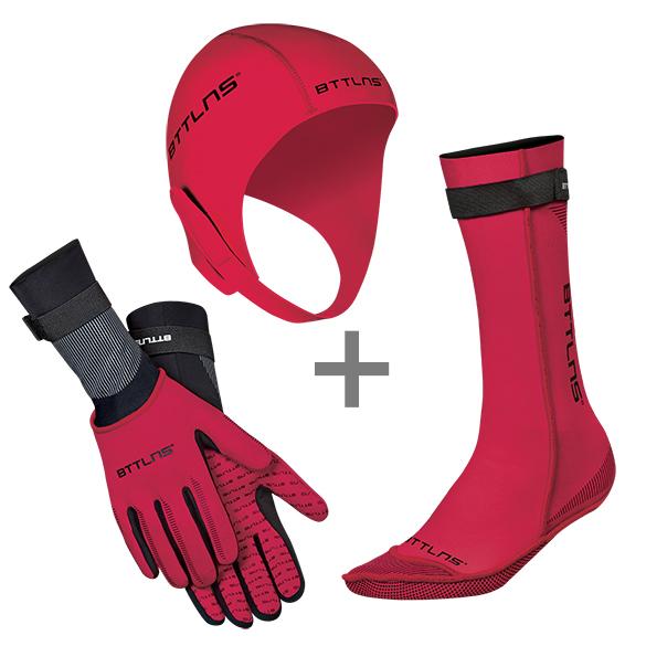 BTTLNS Neopreen accessoires voordeelset rood  0120010+0120011+0120012-003