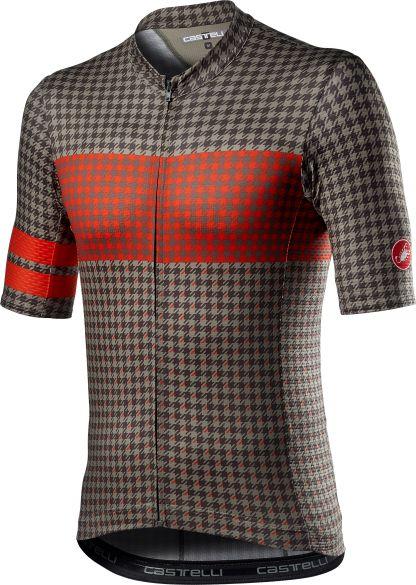 Castelli Maison korte mouw fietsshirt donkergroen/rood heren  21017-364