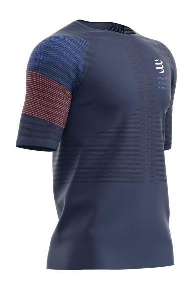 Compressport Racing ss t-shirt blauw heren  TSRUNR-SS-5080