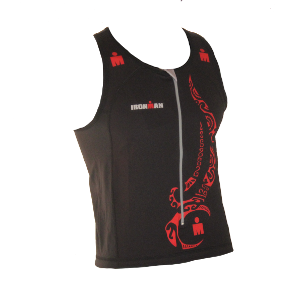 Ironman tri top front zip mouwloos multisport tattoo zwart/rood heren  IM8925-15/05