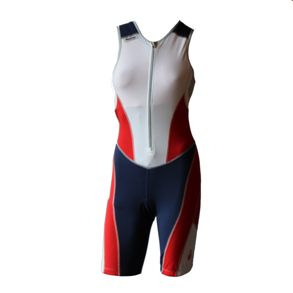 Ironman trisuit front zip mouwloos bodysuit wit/blauw/rood dames  IMW8517-03/41