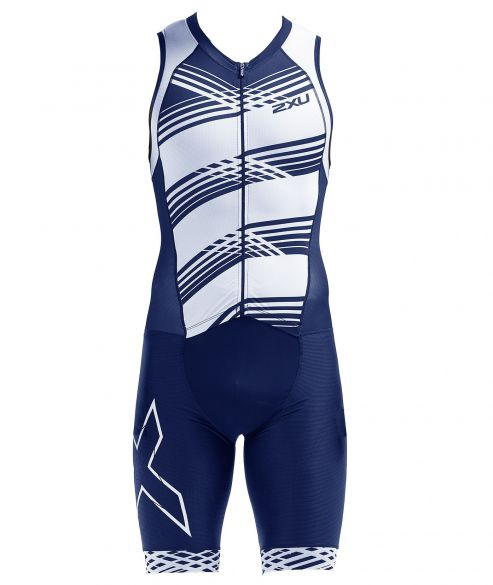 2XU Compression mouwloos trisuit blauw/wit heren  MT5517D-NVY/NWL
