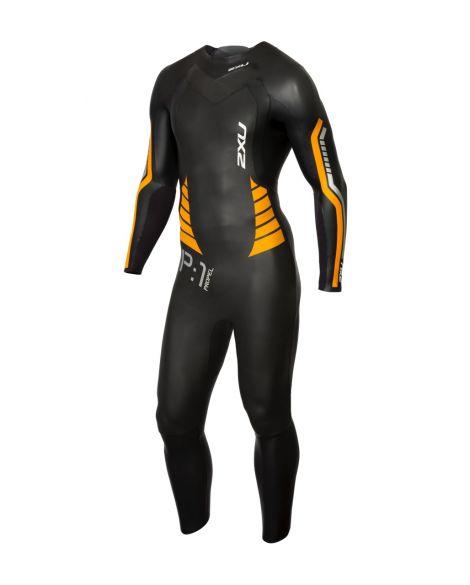 2XU P:1 Propel lange mouw wetsuit zwart/oranje heren  MW4991c-BLK/FLO
