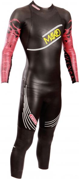 Mako Nami lange mouw wetsuit zwart/rood heren  131001