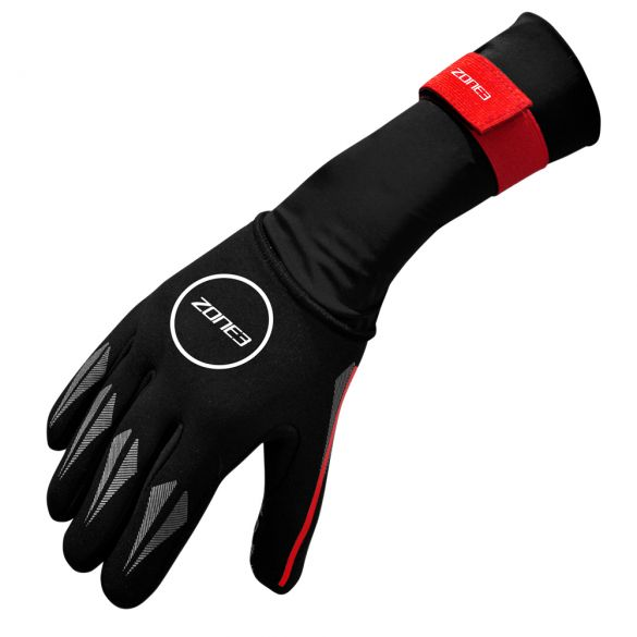 Zone3 Neopreen zwemhandschoenen zwart/rood  NA18UNSG108