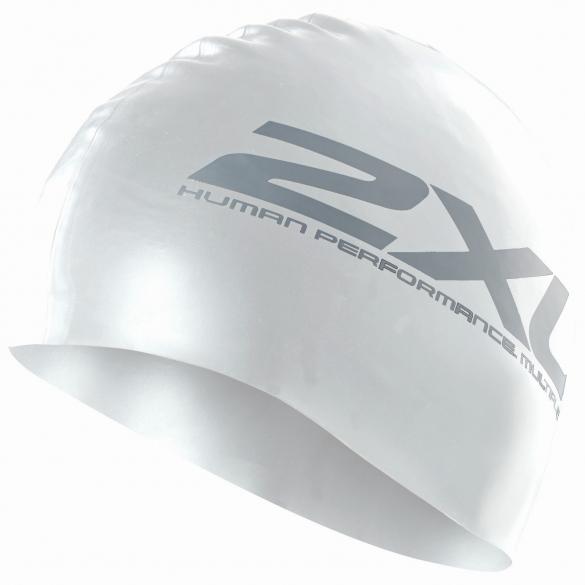 2XU Siliconen swim cap wit  US1355F
