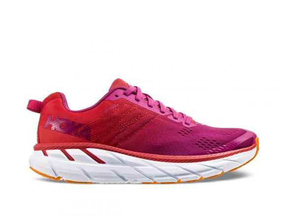 Hoka One One Clifton 6 wide hardloopschoenen roodwit dames