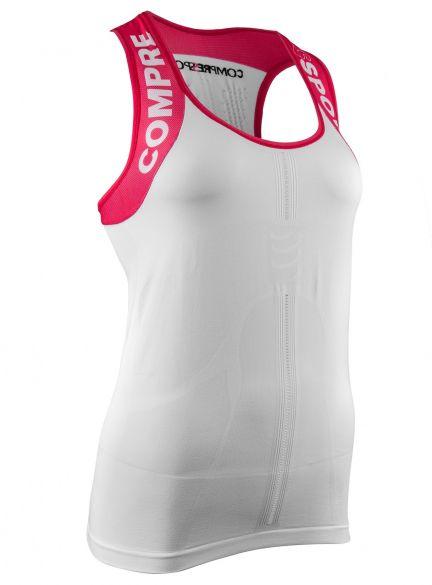 Compressport Trail running shirt v2 tank compressieshirt wit dames  TSTRW-TK00