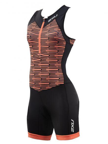 2XU Active mouwloos trisuit zwart/oranje dames  WT5546d-BLK/SHB
